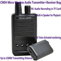 Wholesale CW04 Mini Wireless Remote Audio Transmitter Receiver Spy Bug W/ Voice Recording in TF Card from china suppliers