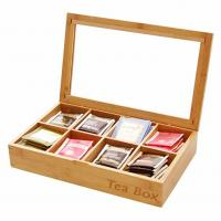 China Multifunction Bamboo Storage Box , Wooden Tea Bag Organizer 8 Compartments on sale