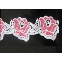 Wholesale White / Pink Floral Water Soluble Lace Trims Machine Embroidery 2 Inch from china suppliers