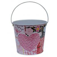Wholesale Recyclable Printed Metal Tin Bucket With Handle , 133 x 103 x 115mm from china suppliers