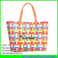 Wholesale LUDA mixed color tote bag handmade pp straw shoulder bag from china suppliers