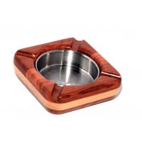 Wholesale Bi-wood Square wood Ashtray with steel plate from china suppliers