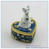 Wholesale Cat shape trinket box with rhinestone for cat jewelry box SCJ953 from china suppliers