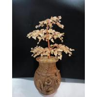 Wholesale Variegated Quartz Gemstone Wire Bonsai Tree Of Life Sculpture In Silver Rough Stone Sprayed Wood Pot from china suppliers