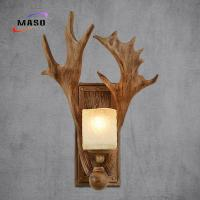 Wholesale Maso Flat Antler Wall Sonce Lamp 340*450 Resin Factory Directly Manufacture E14/E27 Lamp Base Edison LED Bulb MS-W2007 from china suppliers