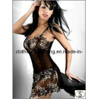 Wholesale Women Black Lace Print Sexy Cute Lingerie Corset Pajamas Underwear Skirts from china suppliers