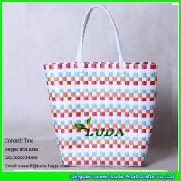 Wholesale LUDA summer woven  beach bag colorful pp strap straw tote bag from china suppliers