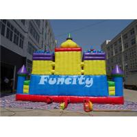 Quality 0.55 MM PVC Tarpaulin Double Stitching Inflatable Fun City For Kids 15 * 8 * 6.8 M for sale