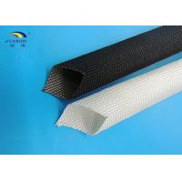 Quality 400 - 600 degree Uncoated Fiberglass Sleeving Black / White Good Strength for sale