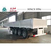 China White 40 FT Drop Side Trailers , Flatbed Trailer 4 Axle With Side Wall on sale