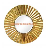 Wholesale Sunburst metal framed decoration mirror middle bevelled mirror shiny gold finish from china suppliers