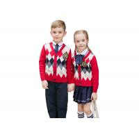 Wholesale Embroidery Logo School Uniform Sweaters Red Navy Pure Cotton Argyle Pattern from china suppliers