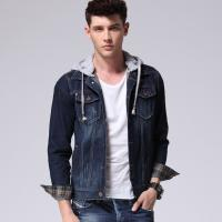 Wholesale Classic Button Down Denim Jacket With Hoodie For Men , Mens Work Denim Suits from china suppliers