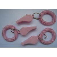 Wholesale Fashionable Solid Pink Round Wrist Band Spiral Coil w/Key Ring and School Whistle from china suppliers