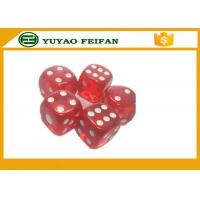 Wholesale 19mm Acrylic Transparent Red 6 Sided Dice Sets With White Spot / Round Corner from china suppliers