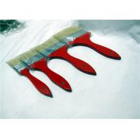 Quality White Flat Natural Bristle Paint Brushes With Shuttle Type Red Wooden Handle for sale