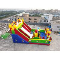Wholesale Kids Red / White 0.55MM PVC Tarpaulin Inflatable Slide Fun City With Obstacle from china suppliers
