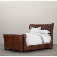 Wholesale Provincial Style Elegant Churchill Upholstered King Leather Bed With Footboard from china suppliers