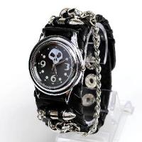 Buy cheap Punk Gothic Ladies Women Men Gens Genuine Leather Wrist Watch from wholesalers