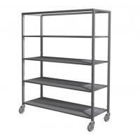 Wholesale Silver Removable 5 Tier Stainless Steel Storage Shelves With Wheels / Caster from china suppliers