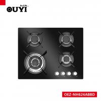 Quality OUYI Black Tempered Glass 4 Different Size Sabaf Burner Gas Stoves for sale