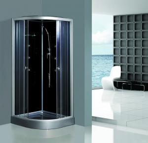 China Enclosed Framed Shower Glass Doors , Custom Glass Shower Walls Black Back on sale