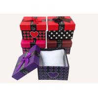 Quality Eco Friendly Packing Gift Boxes Wave Point Squre With Tie , Cardboard Presentation Boxes for sale