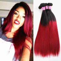 Quality Black To Red Ombre Clip In Hair Extensions For Long Hair With No Tangle for sale