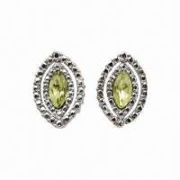 Wholesale Alloy Stud Earrings with Rhodium Plating and Crystal from china suppliers