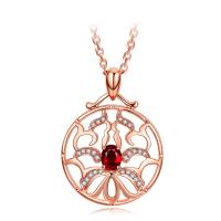 Wholesale Small Real Red Ruby Stone And Rose Gold Necklace With Diamond Surround from china suppliers