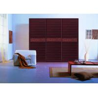 Wholesale Modern Walnut Triple Sliding Door Wardrobes Aluminium Frame With Moisture Proof Board from china suppliers