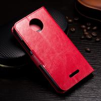 Protective Wallet Stand Motorola Leather Case For Motorola C Plus Side - Open
