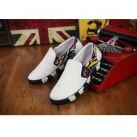 Wholesale Elastic Tape Totem Patterns Canvas Sneakers Shoes Mens White Canvas Trainers No Lace from china suppliers