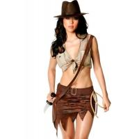 Wholesale Indiana Jane Jungle Sexy Lingerie Catwoman Costume , Wild West Cowgirl Fancy Dress from china suppliers