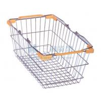 Wholesale OEM Orange Metal Wire Mesh Plastic Supermarket Shopping Basket Carts from china suppliers