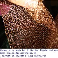 Quality Interlocking loop pattern air liquid filter knitted copper wire mesh for sale