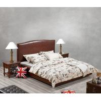 Wholesale Glassic design of Leisure Bedroom Furniture Upholstered Headboard Bed by True Leather with High density Sponge covered from china suppliers