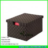 Wholesale LDKZ-023 espresso brown home stoage container double woven strap file storage box with lid from china suppliers