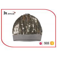 Wholesale Single Layer Warm Winter Knit Hats With Gold Paillette , Knit Stocking Hats from china suppliers