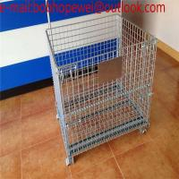Wholesale wire mesh storage container /wire mesh cage/ industrial stackable foldable Steel folding wheeled wire mesh storage cage from china suppliers