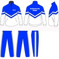 Wholesale Blue / White Children 4 - 16 Silk Screen Printing Tracksuits Sportswear Half Jacket Zip from china suppliers