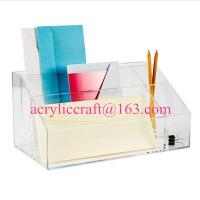 Wholesale Transparent multi-function acrylic stationery with note pad holder & pen holder from china suppliers