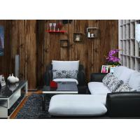Wholesale Retro Wood Pvc 3d Interior Wallpaper For Household , Embossed Surface Treatment from china suppliers