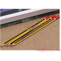 Wholesale Hexagonal poplar wooden triangle HB pencils with strip and eraser from china suppliers