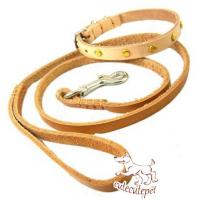 Wholesale soft leather dog leash for small dogs with collar from china suppliers