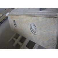 Quality Modern Kashmir Gold Granite Countertop , Two Sinks Hotel Granite Bathroom Worktops for sale