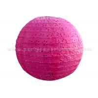 Wholesale Round Pink Blue Eyelet Paper Lantern , multi colored paper lanterns for bedrooms from china suppliers
