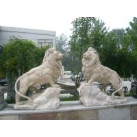 Wholesale Travertine stone lions sculpture for garden from china suppliers