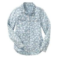 Wholesale Children's shirt » Girls' Long Sleeve Floral Chambray Button-Front Cotton Shirts from china suppliers
