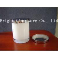 Wholesale Best design white color glass candle holder with metal lid from china suppliers